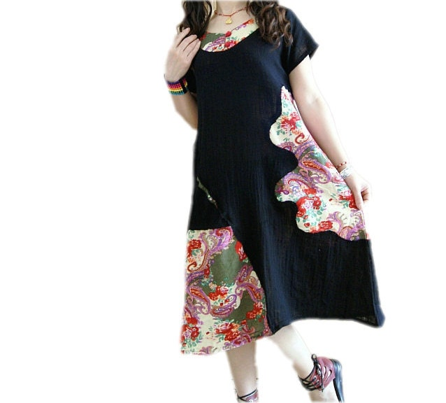 cotton and linen Patchwork black dress