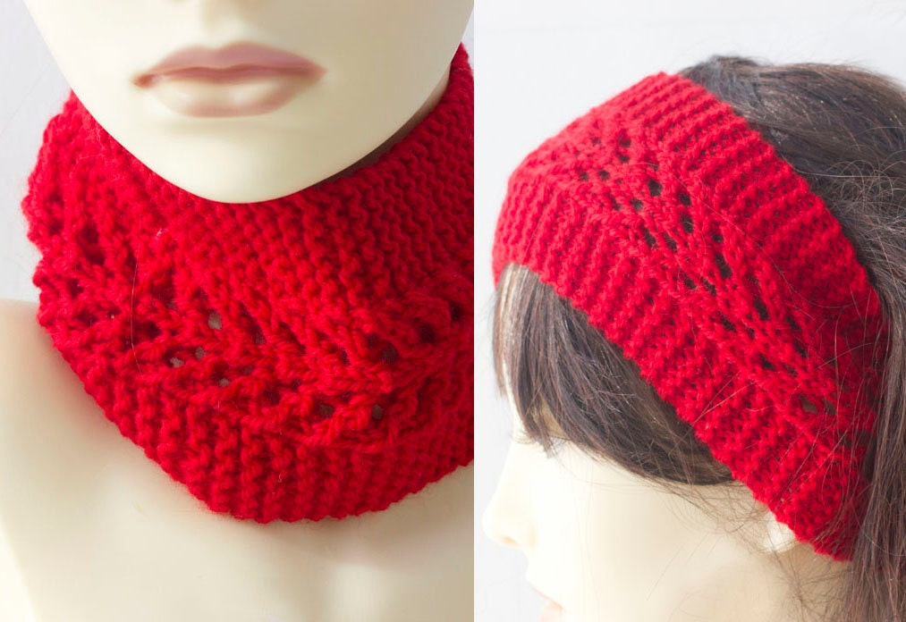 Red Wool Lace Knit Neck Warmer Knitted Head Wrap by beadedwire