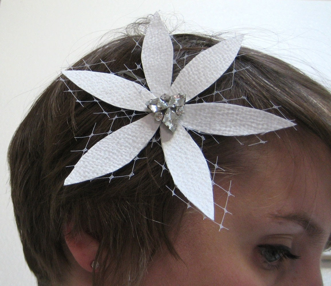 Silk and Fishnet Flower Hair Pin