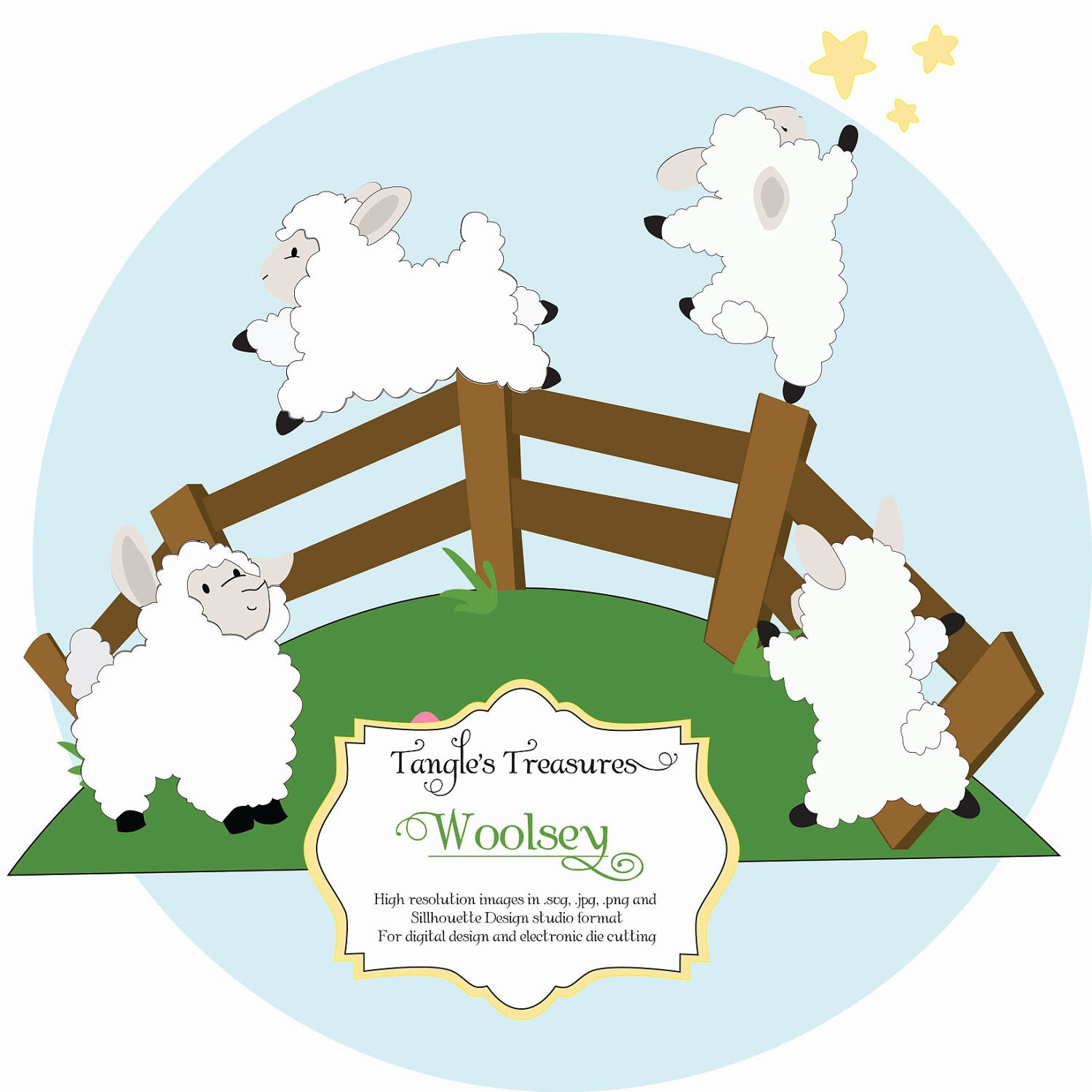 Digital Clip Art and Die Cutting Files, Woolsey the Sheep