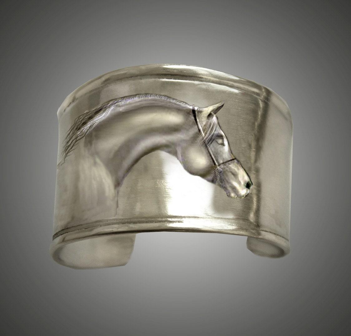 Arabian Horse Cuff bracelet frieze - HorseLadyGifts