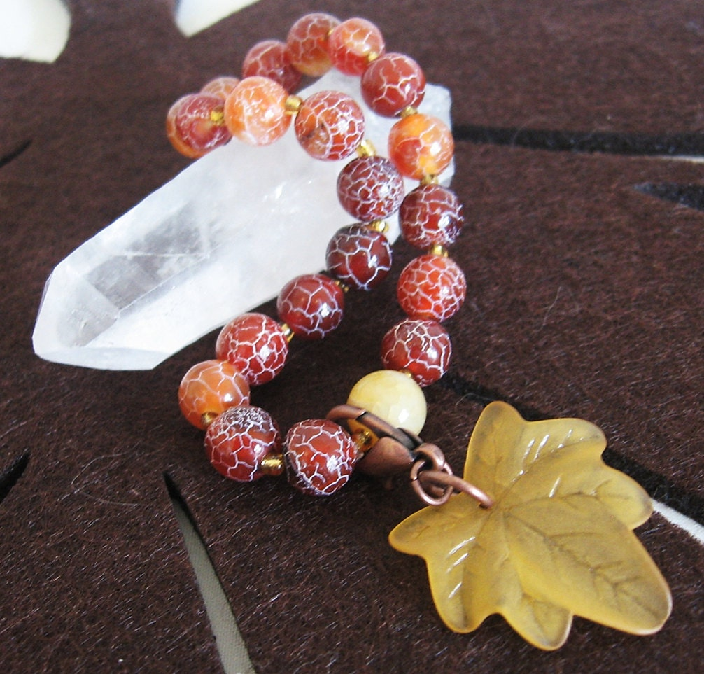 Harvest Blessings Bracelet in Crackled Agate with Fall Leaf Charm - HeartofOneCreations