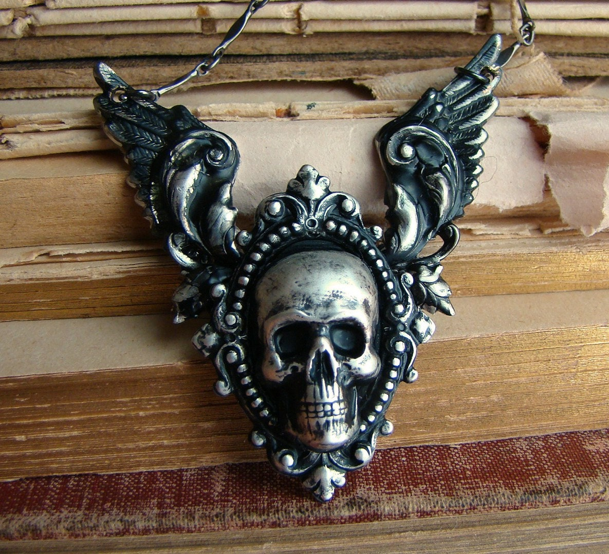 Purgatory Revisited - Silver Winged Skull Neo-Victorian Gothic Necklace