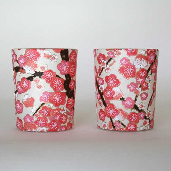 Pink Blossoms Candle Holders - juliedyecraft
