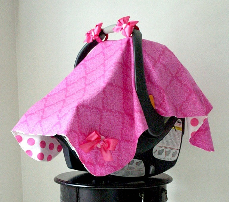 SALE...SALE...SALE...Pink Damask and Polka Dot Car Seat Canopy..Car Seat Tent....Car Seat Cover by Polka Dot Bungalow...can customize colors...item also available for twins