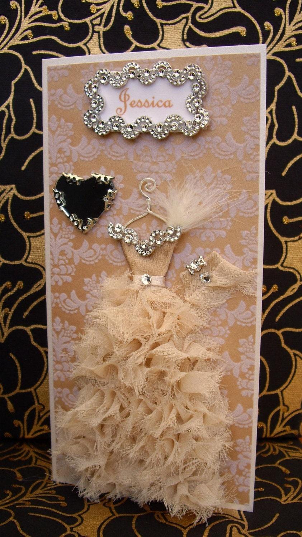 Jessica Personalised Ruffled Dress Card / Handmade Greeting Card