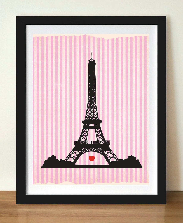 Eiffel Tower Paris Silhouette 11x17 Art Print By