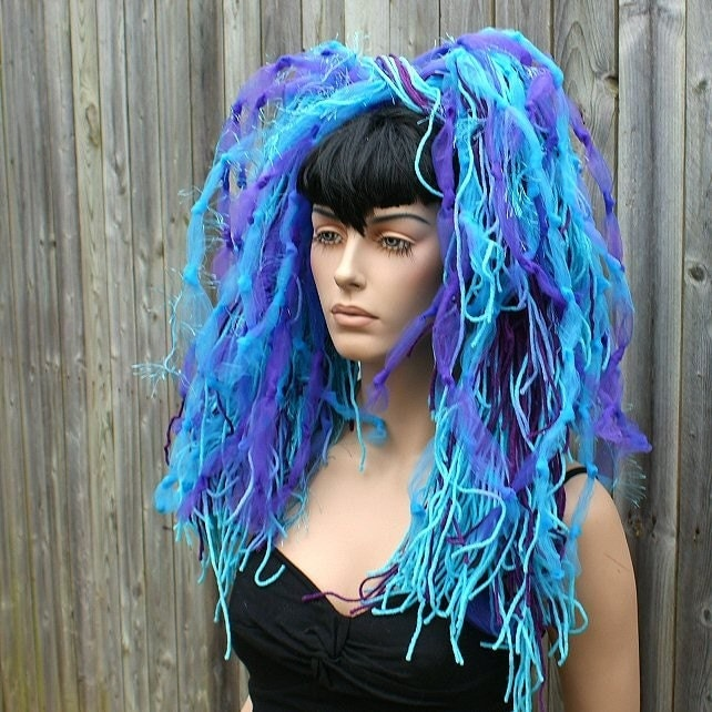 Neon Turquoise Purple Cyborg Knotty Cyber Dread Falls By