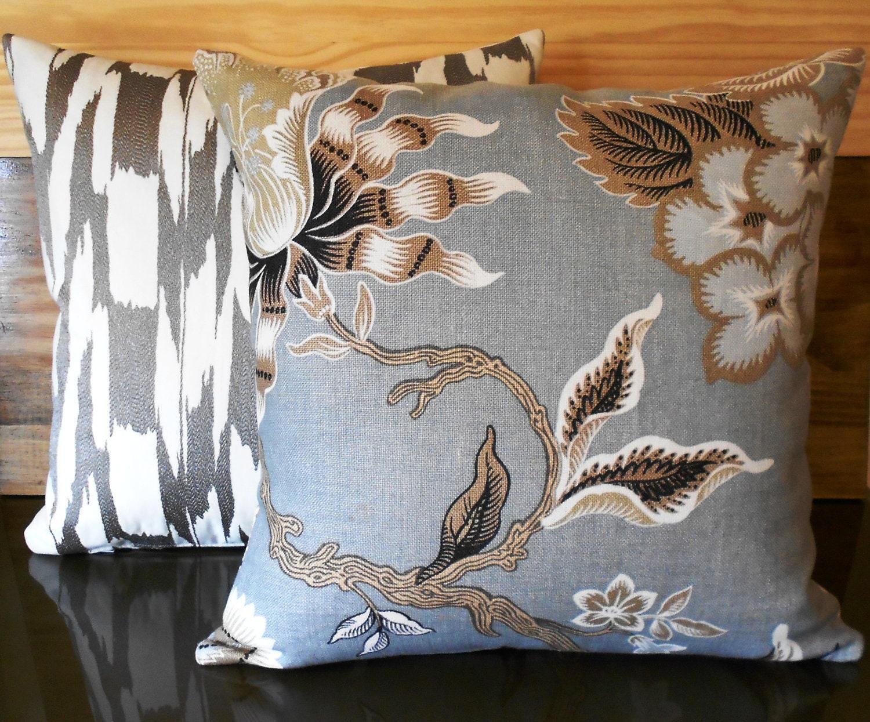 Silver Blue Decorative Pillows : Decorative pillow metallic blue silver bronze by pillowflightpdx