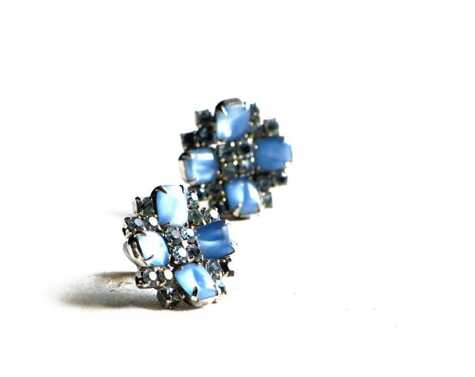 Sky Blue Moonglow Earrings, Blue Flowers, Blue Rhinestone and Thermoset Moonglow Clips - recreated1