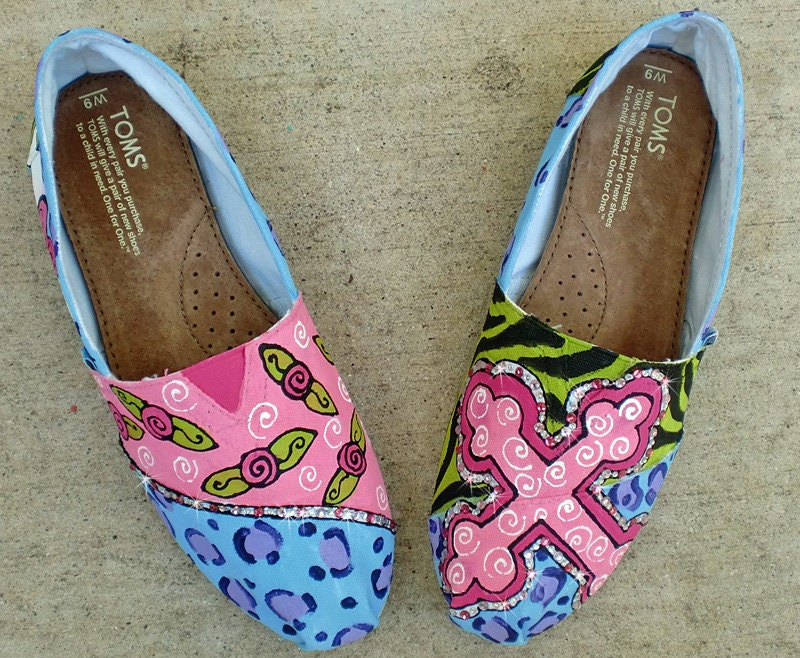 Custom Painted womens TOMS with Crystals and personalized just for YOU design only