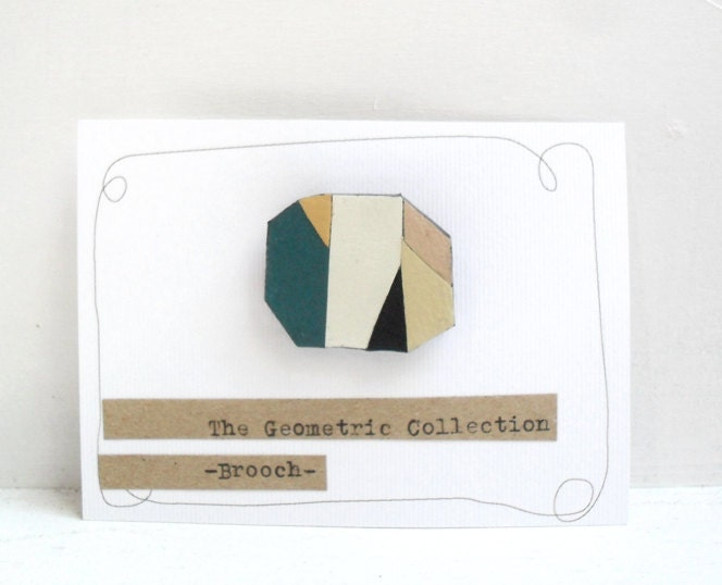 Minimal leather brooch, upcycled leather, geometric brooch, OOAK brooch - gwaen