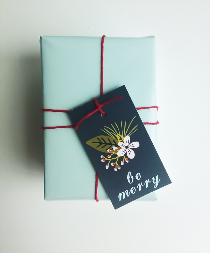 Floral Modern Holiday Gift Tags Merry Christmas By