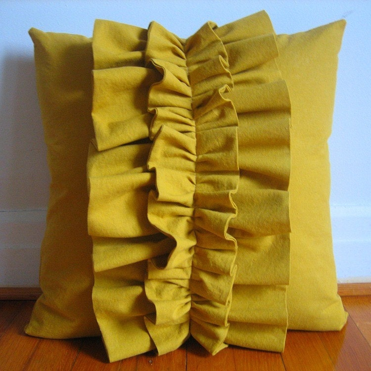 Stacked Ruffles Pillow Cover in Mustard