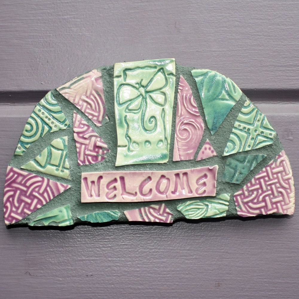 Mosaic Butterfly Welcome Sign