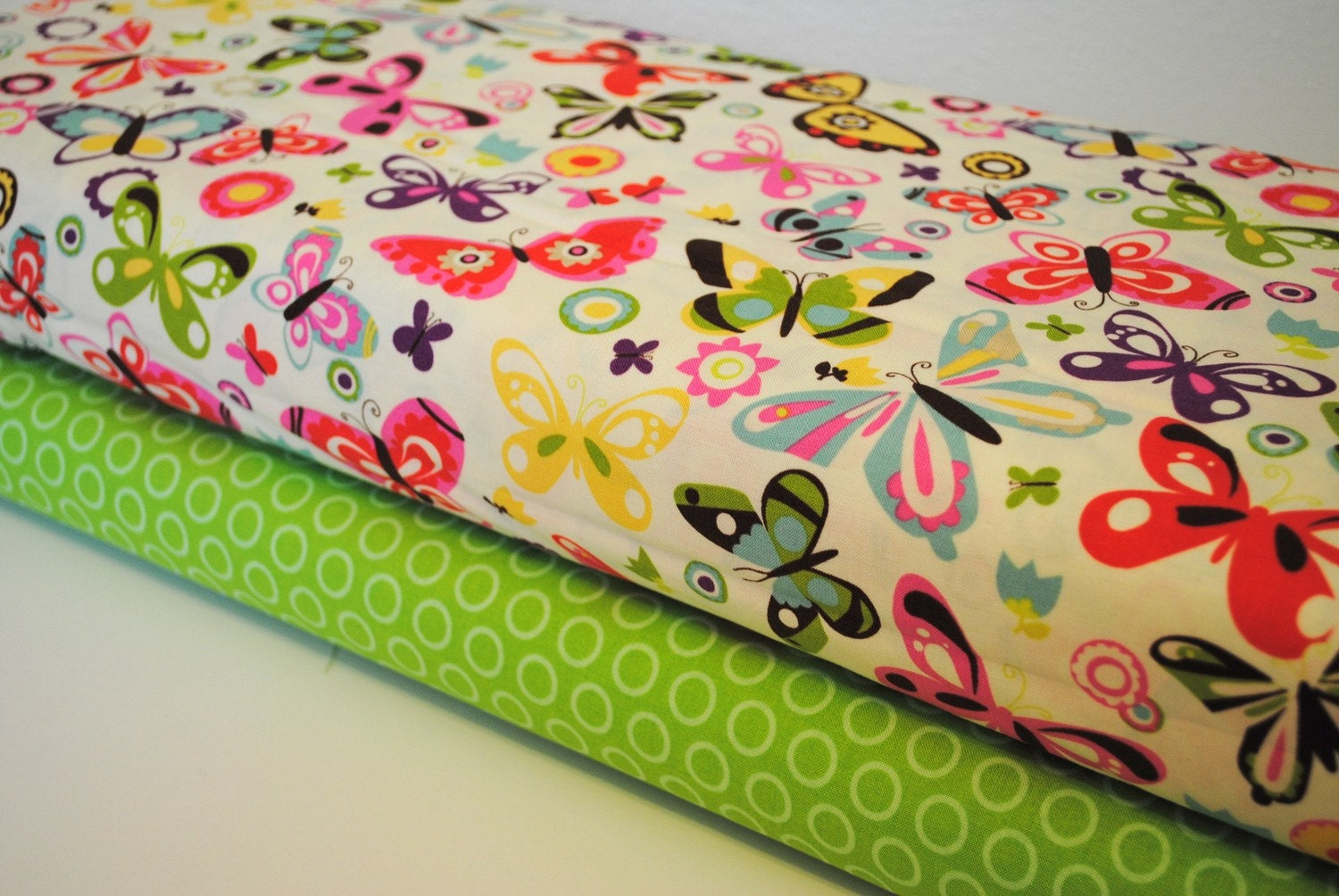 Wings of Peace Butterflies and Green Cheery Dots 1 Yard set of 2