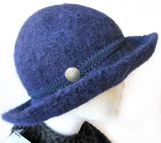 Navy Blue Alpaca Hat Felt Wide Brim Hand dyed natural wool waterproof - Alpaca4US