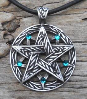 Pewter Double Pentagram Celtic Pagan Pentacle Pendant with Swarovski