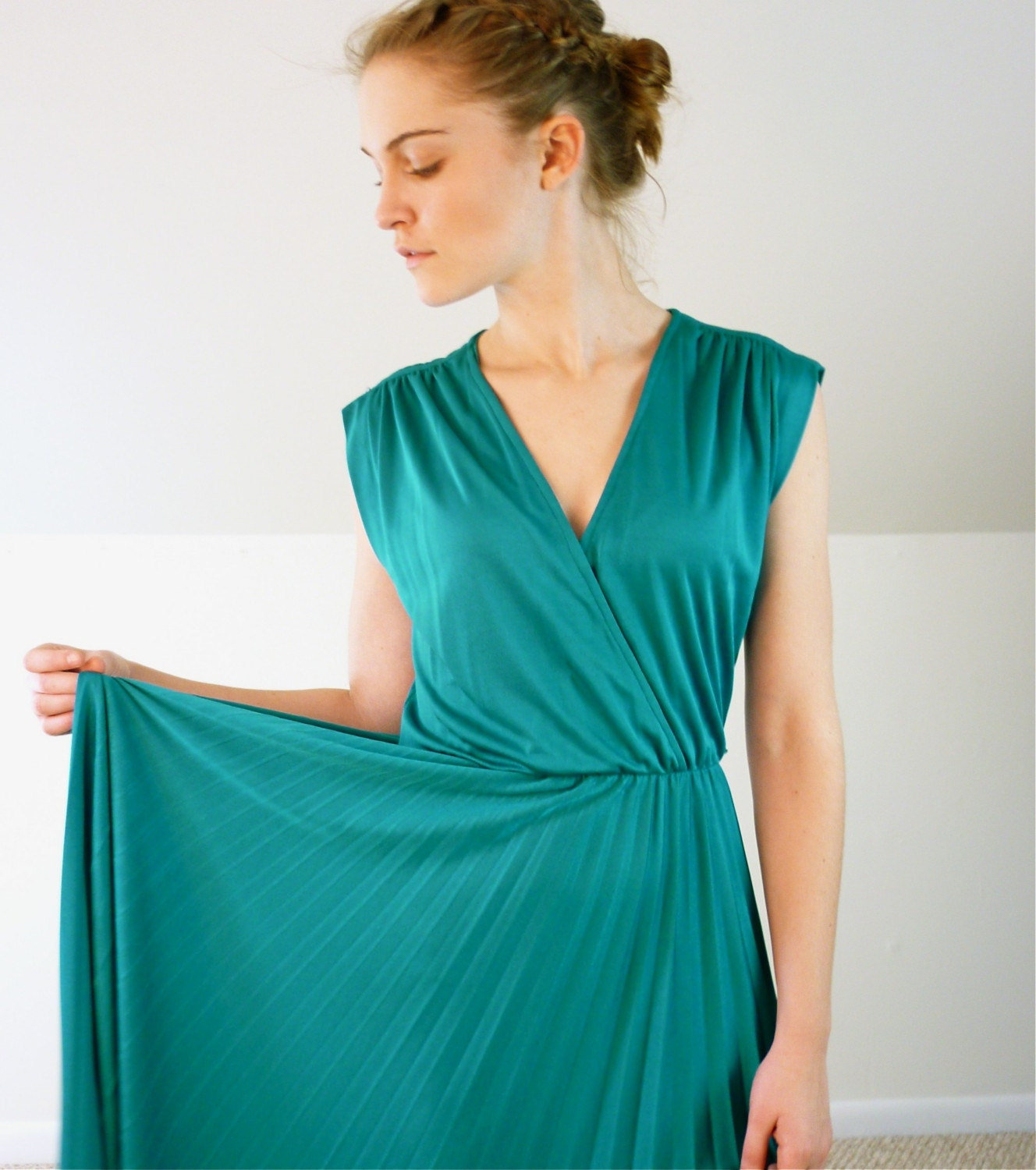 Teal Blue Accordion Pleated Dress, $58