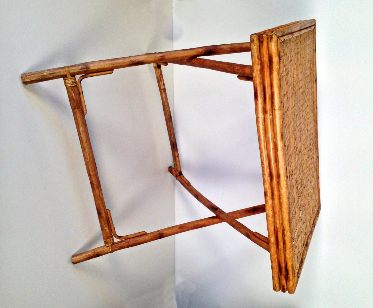 Vintage Rattan Bamboo Folding Side End Table By Forrestinavintage