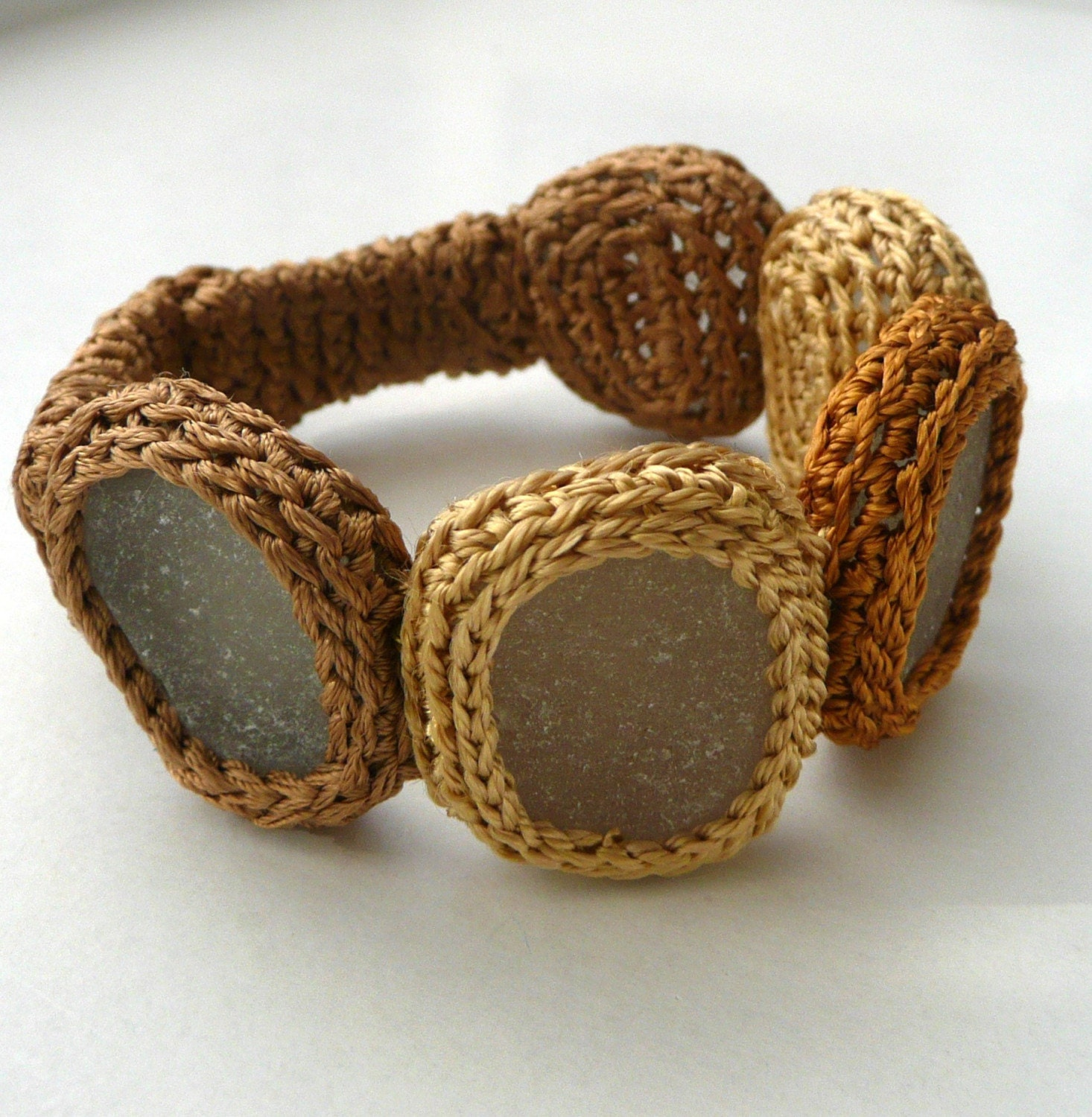 Golden - brown bracelet with 5 sea glasses