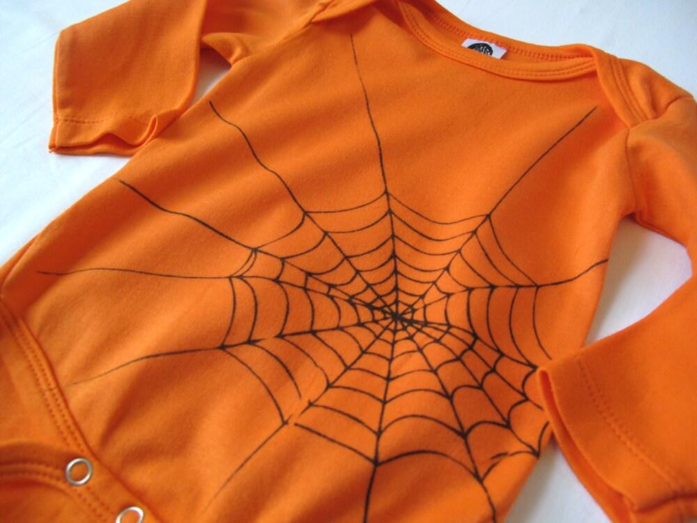 Halloween Orange Spider Web, Baby Onesie, Hand-Printed Lithograph, Organic Bodysuit, 3-6 months