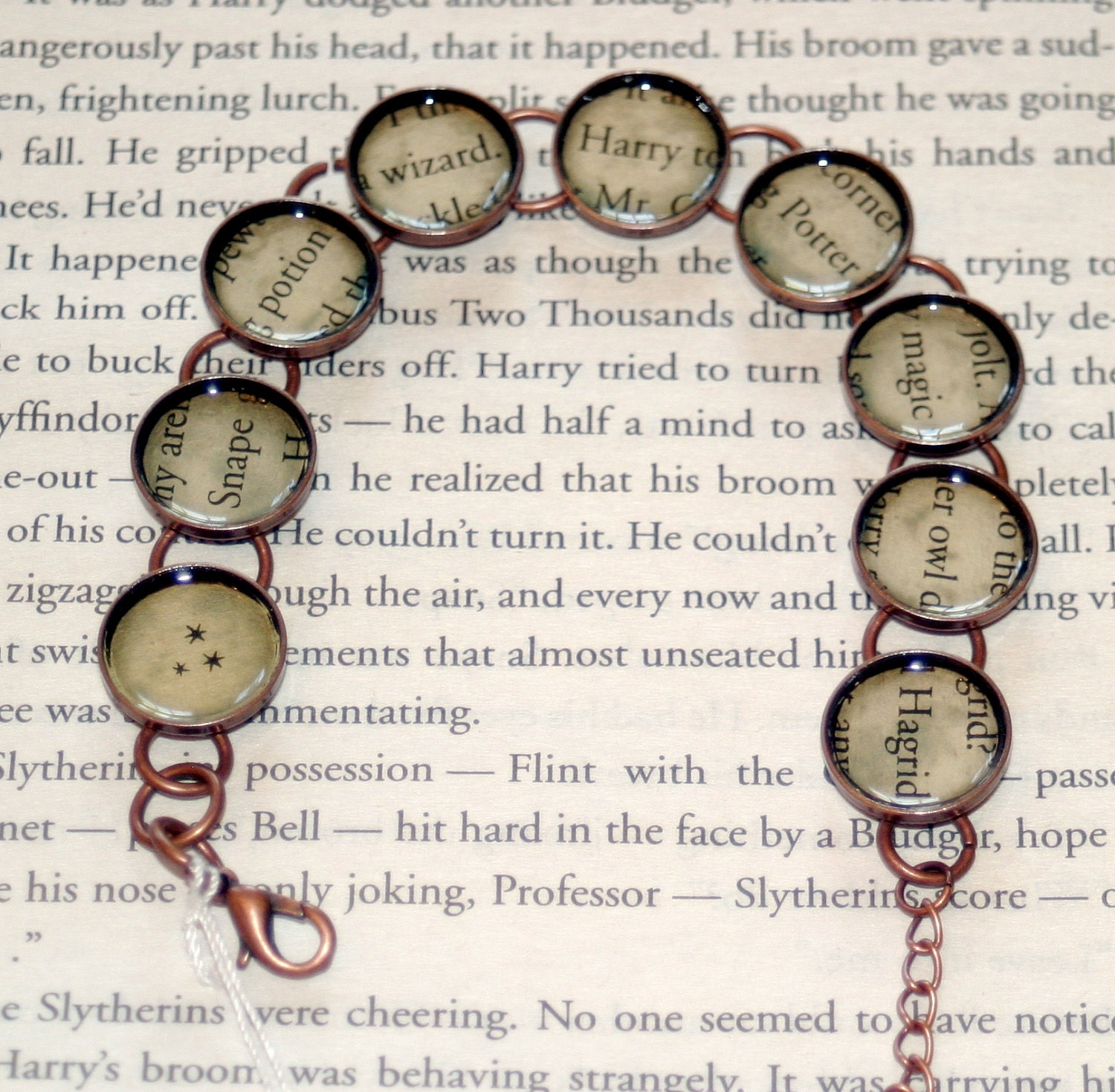 Harry Potter Recycled Book Bracelet - RESERVED for A Spark for RCC Benefit Auction