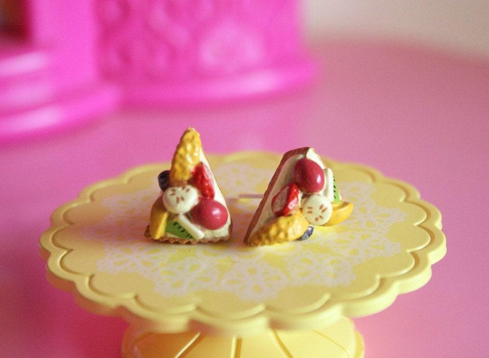 Mix fruits pie stud earrings