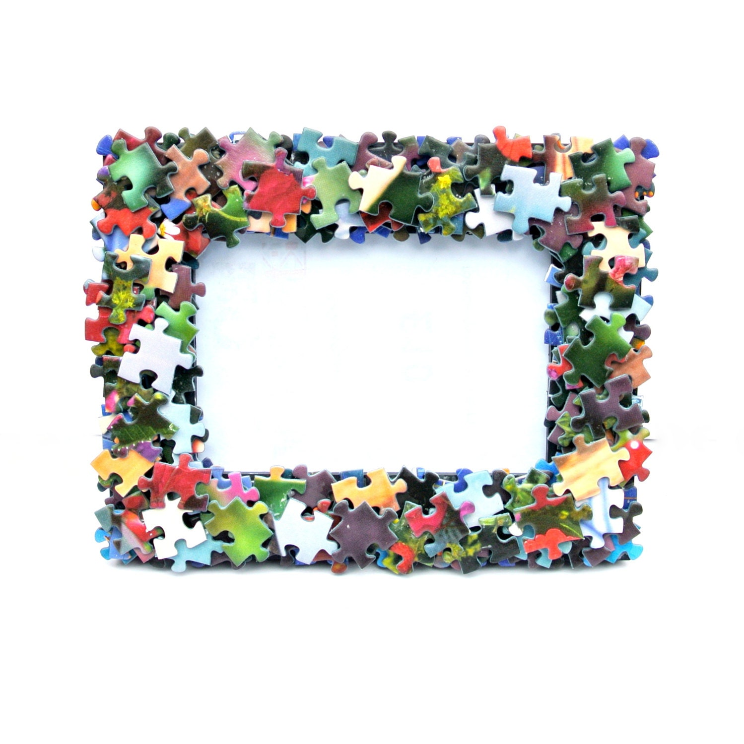 Jigsaw Puzzle Covered Free Standing or Wall Photo Frame 4x6 inch Photos Game Quirky Blue Purple Green Boys Bedroom