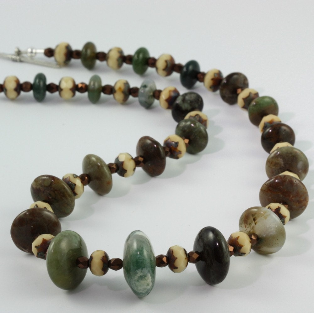 Green Jasper Bronze Cream Necklace by abacusbeadcreations on Etsy from etsy.com