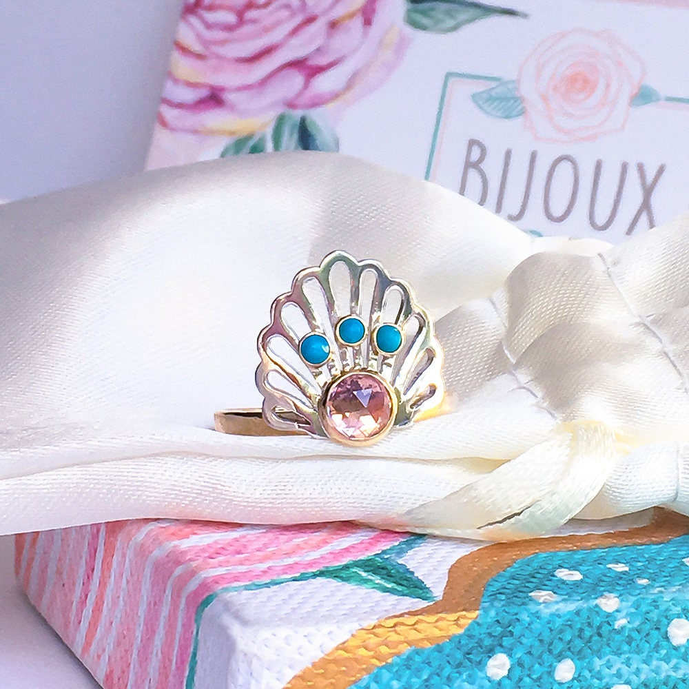 Art Deco Morganite  Turquoise Gold ring Morganite Gold ring Peach Pink Morganite ring Art Deco ring 9ct solid Gold and Silver ring.