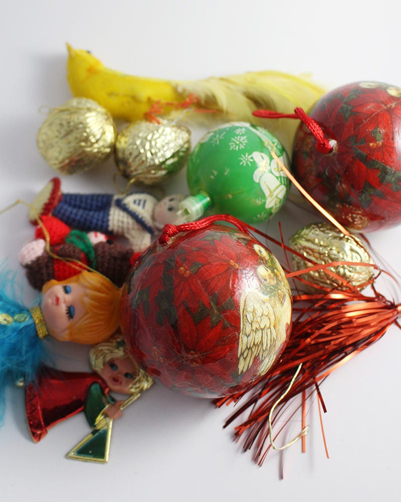 Image of 10 Christmas Tree Decorations with Hangers Mixed Vintage Lot Red Green Baubles