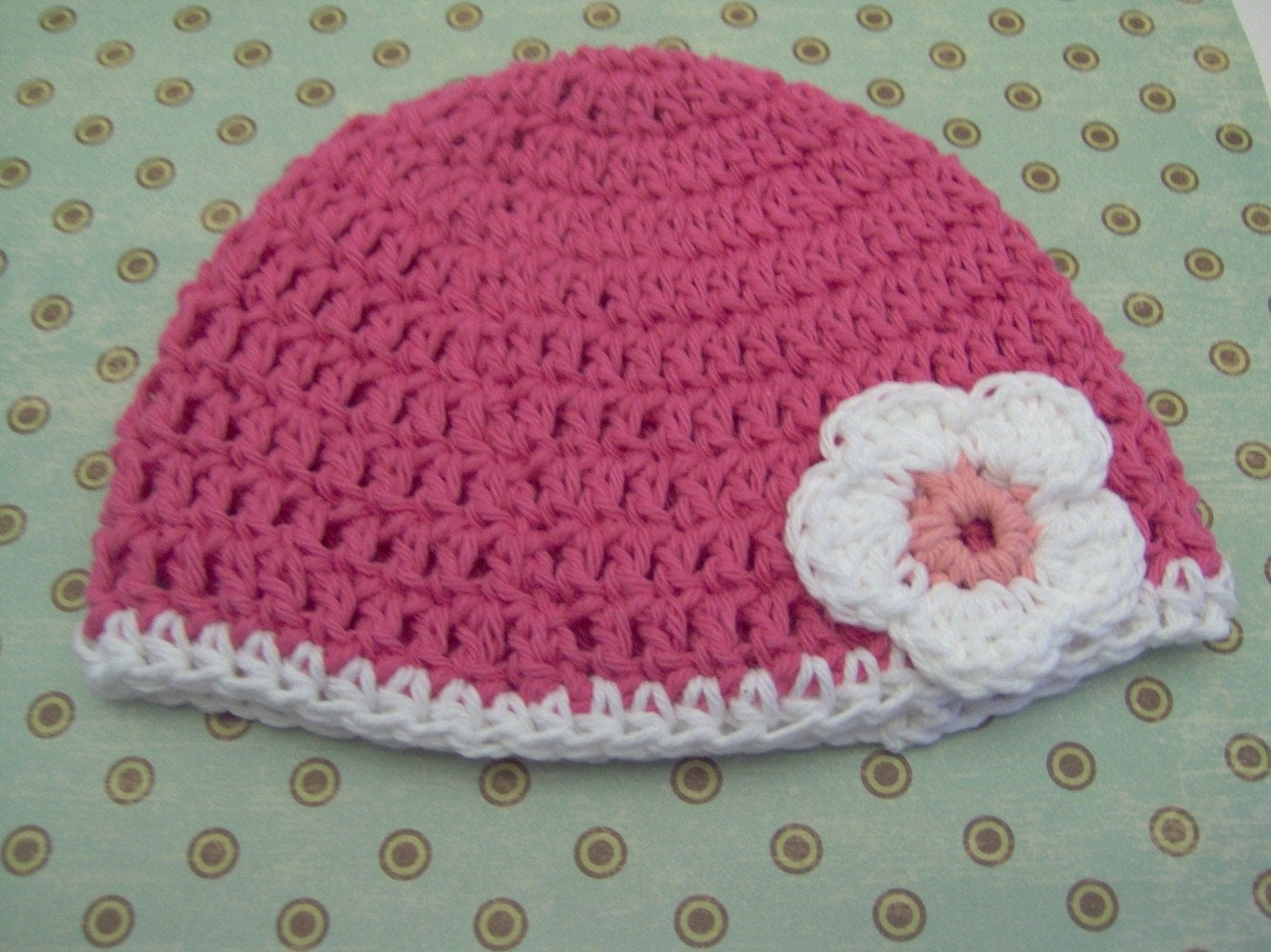 Etsy :: Newborn hat - pink with daisy