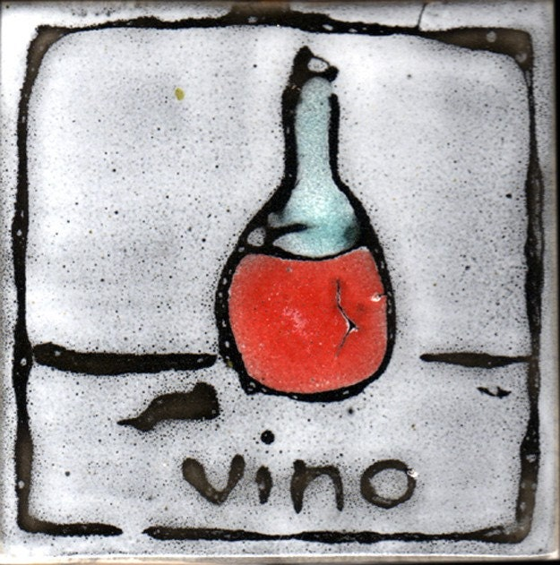 hand made hand painted tile with italian wine design