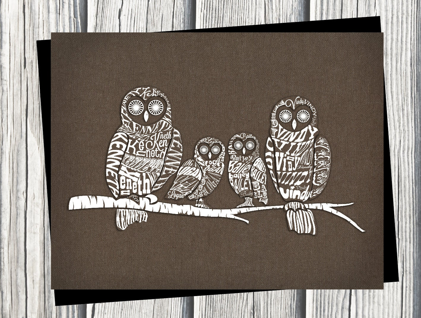 Etsy Family Wall Decor : Items similar to owl family wall art personalized names