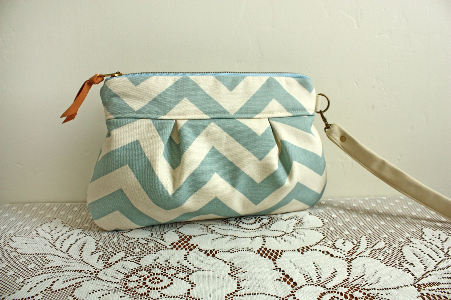Save 10% w/ promo code--Kitt Wristlet/ Pouch/ Makeup bag/ Wallet in Seafoam/ Natural Chevron Stripe --Ready to Ship--
