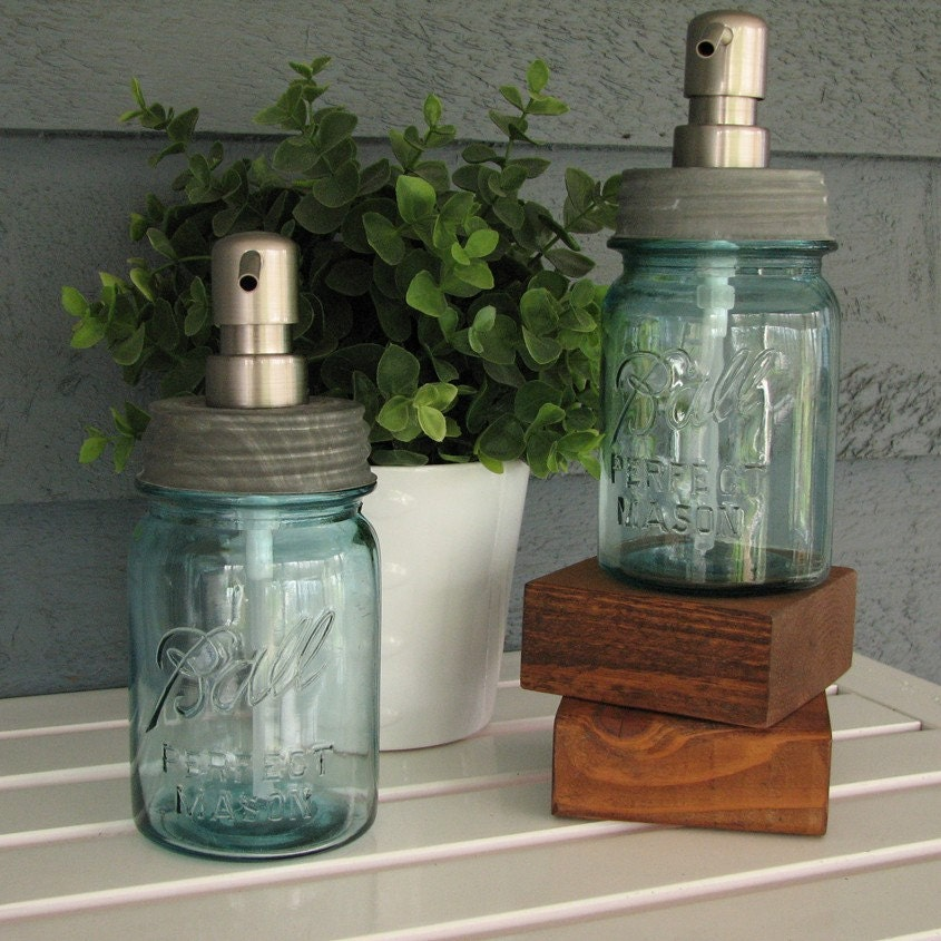 Pint Ball Mason Jar Soap Dispenser with Stainless Steel Pump