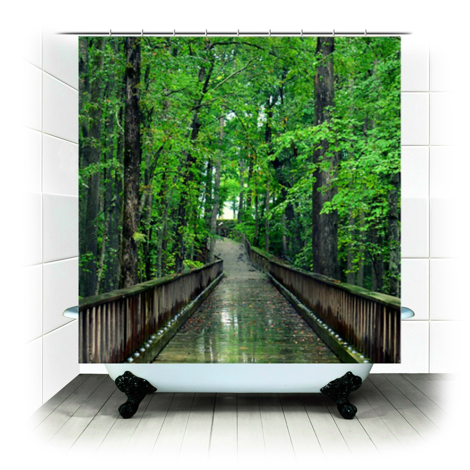 Items similar to fabric shower curtain solitude - Forest green shower curtain ...