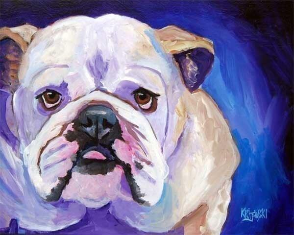 English Bulldog Art Print of Original Acrylic by dogartstudio