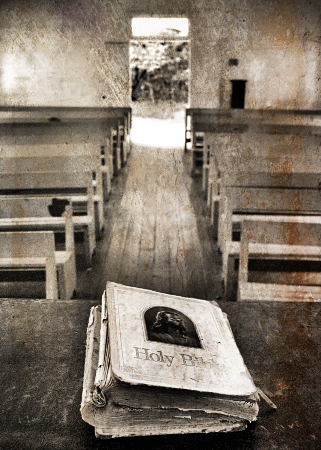 5x x7 Church Photo, Black And White Photography, Rustic Home Decor, Old Church Print, Religious Photo - GiaJuryPhotography