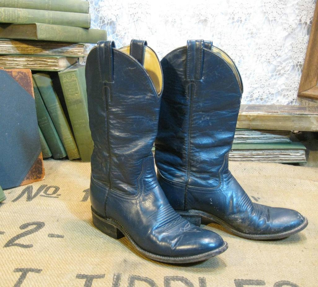 vintage cowboy boots navy blue leather ropers by