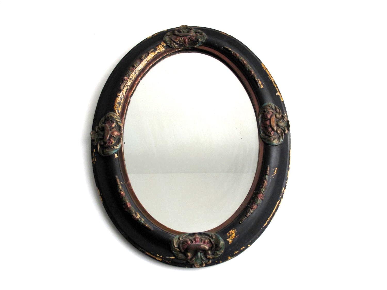 Antique Black Oval Mirror Wood Frame Bathroom by ...