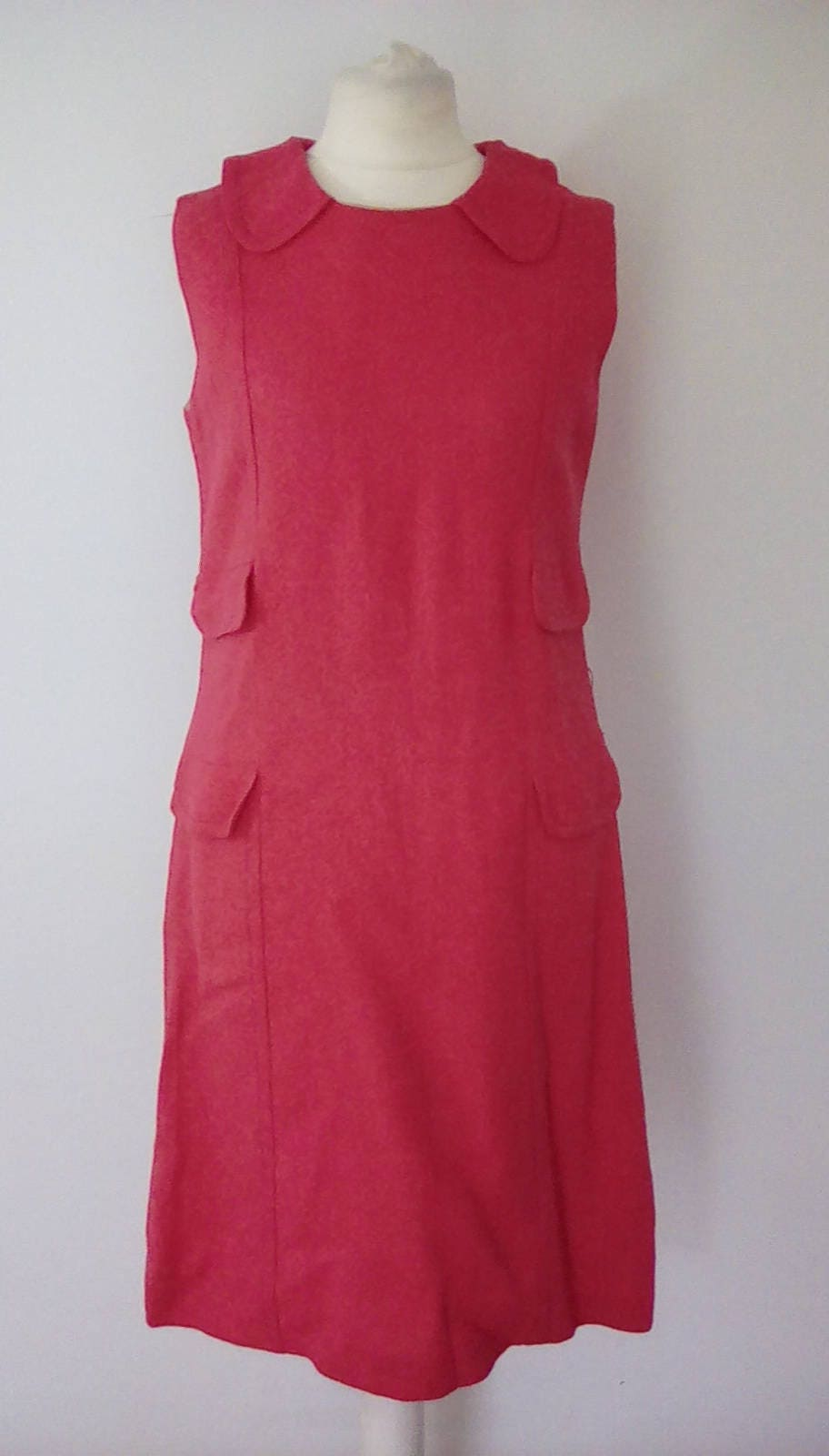 Vintage 60s 70s pink linen dress by Val Somers of London size small to medium