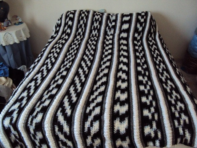 Afghan or Blanket Crochet in Black White by ...