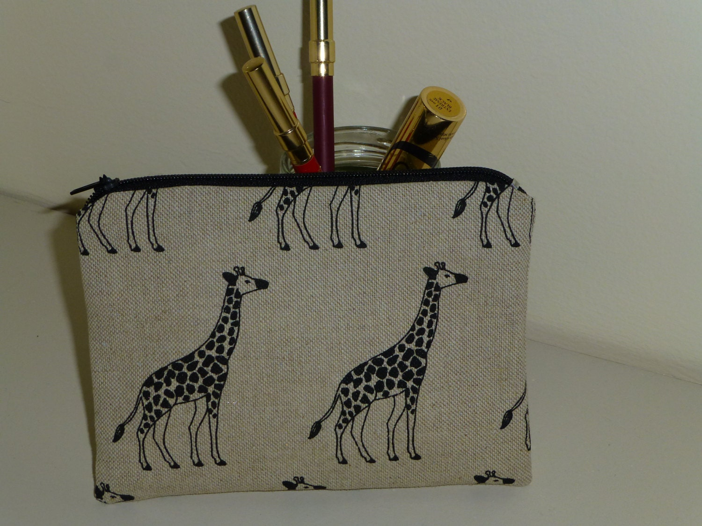 Giraffe Coin Purse Giraffe Makeup Bag  Zippered Coin Purse  Zoo Animal Coin Purse Giraffe Bag Giraffe Lovers Gift Animal Coin Purse