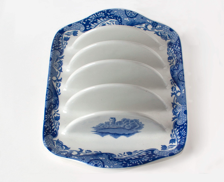 Spode Italian Toast Rack Spode England Blue  White Italian Collection 4 Slot Toast Rack  Black Backstamp
