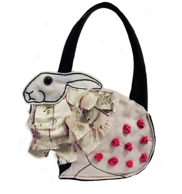 Etsy :: dragonhouseofyuen :: RESERVED FOR TAMERA Arabella Rabbit Bag wearing Chinese Lion Style Jumper donating 10per cent to the BUAV
