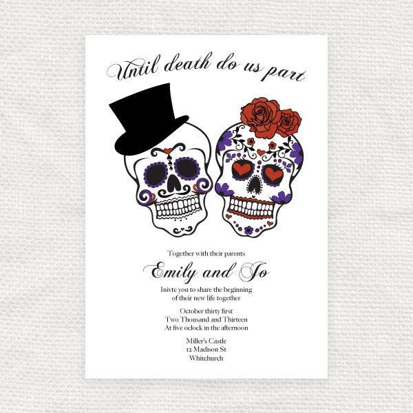 until death do us part wedding invitation sugar by idoityourself