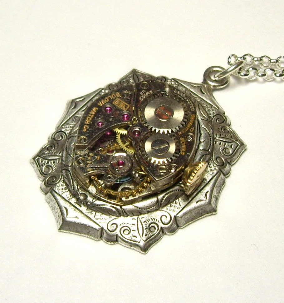 Antique Silver Vintage 17 Jewel Bulova Watch Movement Swarovski Crystal  Gothic Steampunk Necklace Pendant (A17) new