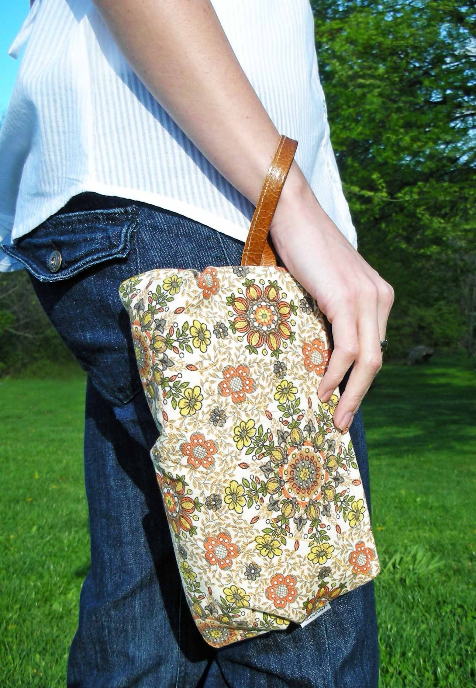 Vintage Fabric bag with Leather Strap Tonal Orange Floral- Calico Kaleidoscope Dahling Wristbag